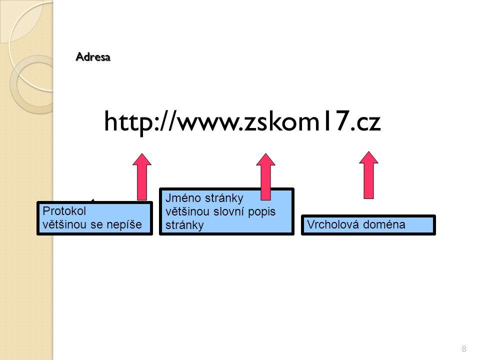 Adresa http://www.zskom17.cz 8 Protokol většinou se nepíše Vrcholová doména Jméno stránky většinou slovní popis stránky