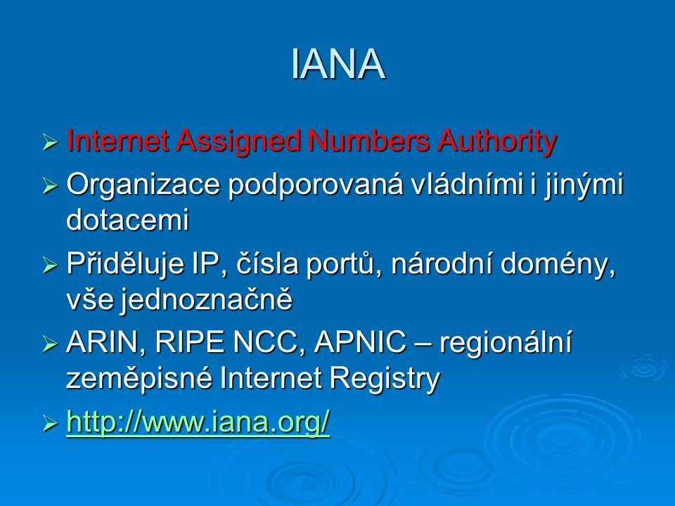IANA  Internet Assigned Numbers Authority  Organizace podporovaná vládními i jinými dotacemi  Přiděluje IP, čísla portů, národní domény, vše jednoz