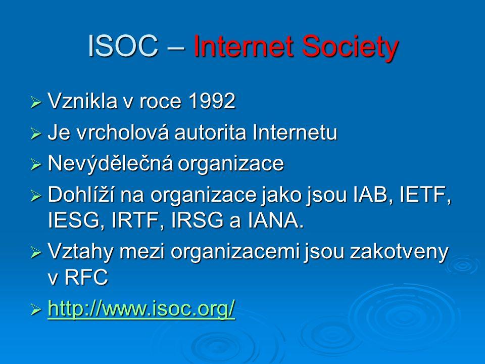 ISOC – Internet Society  Vznikla v roce 1992  Je vrcholová autorita Internetu  Nevýdělečná organizace  Dohlíží na organizace jako jsou IAB, IETF,