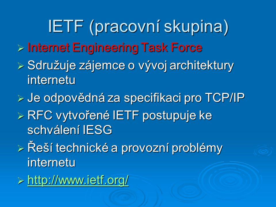 IETF (pracovní skupina)  Internet Engineering Task Force  Sdružuje zájemce o vývoj architektury internetu  Je odpovědná za specifikaci pro TCP/IP 
