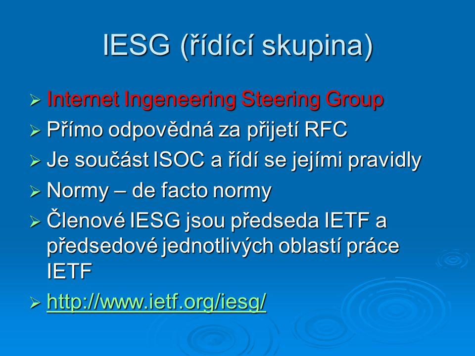 IESG (řídící skupina)  Internet Ingeneering Steering Group  Přímo odpovědná za přijetí RFC  Je součást ISOC a řídí se jejími pravidly  Normy – de