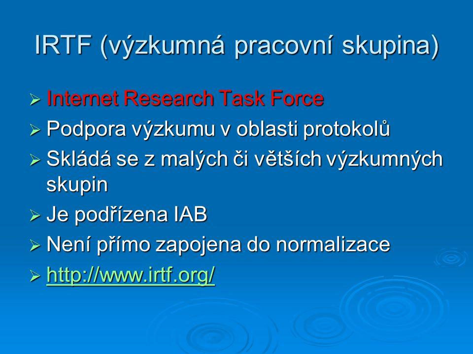 IRTF (výzkumná pracovní skupina)  Internet Research Task Force  Podpora výzkumu v oblasti protokolů  Skládá se z malých či větších výzkumných skupi