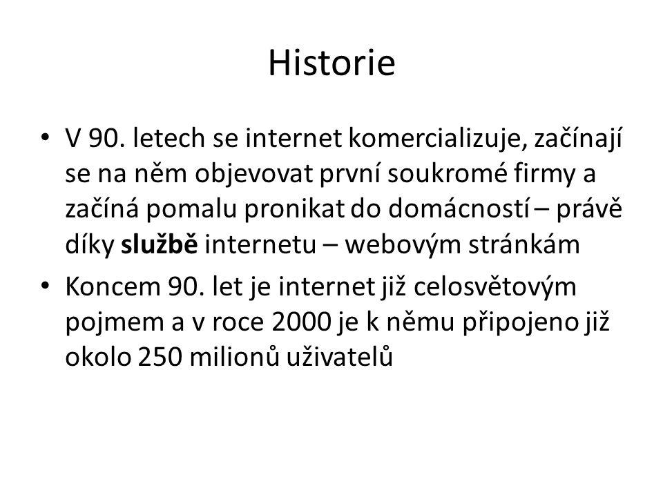 Historie V 90. letech se internet komercializuje, začínají se na něm objevovat první soukromé firmy a začíná pomalu pronikat do domácností – právě dík