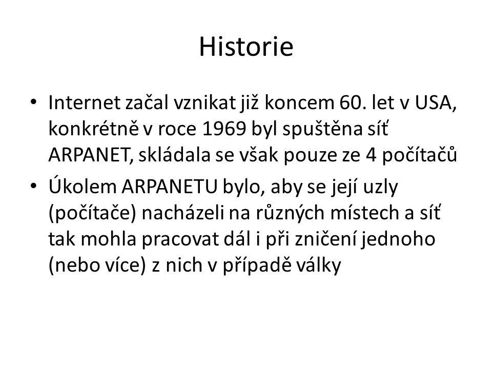 Historie Internet začal vznikat již koncem 60. let v USA, konkrétně v roce 1969 byl spuštěna síť ARPANET, skládala se však pouze ze 4 počítačů Úkolem