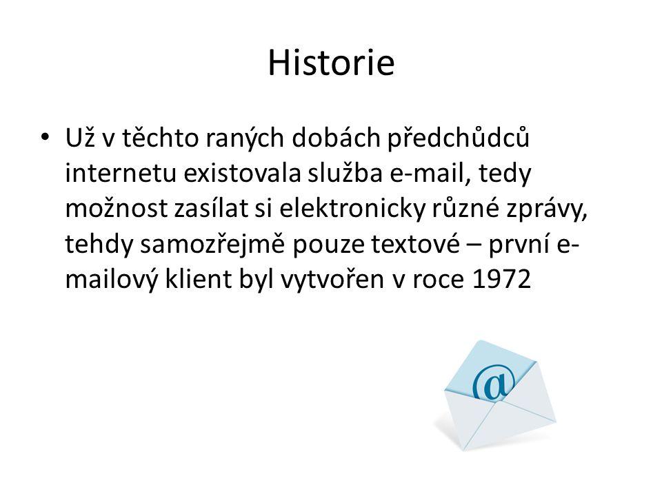 Historie Už v těchto raných dobách předchůdců internetu existovala služba e-mail, tedy možnost zasílat si elektronicky různé zprávy, tehdy samozřejmě