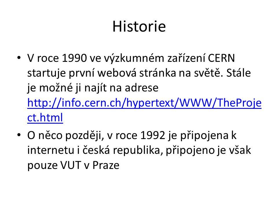 Historie V roce 1990 ve výzkumném zařízení CERN startuje první webová stránka na světě. Stále je možné ji najít na adrese http://info.cern.ch/hypertex