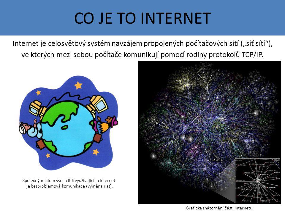 """CO JE TO INTERNET Internet je celosvětový systém navzájem propojených počítačových sítí (""""síť sítí ), ve kterých mezi sebou počítače komunikují pomocí rodiny protokolů TCP/IP."""