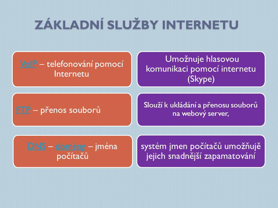 ZÁKLADNÍ SLUŽBY INTERNETU Umožnuje hlasovou komunikaci pomocí internetu (Skype) systém jmen počítačů umožňujě jejich snadnější zapamatování Slouží k ukládání a přenosu souborů na webový server, VoIPVoIP – telefonování pomocí Internetu DNSDNS – domény – jména počítačůdomény FTPFTP – přenos souborů