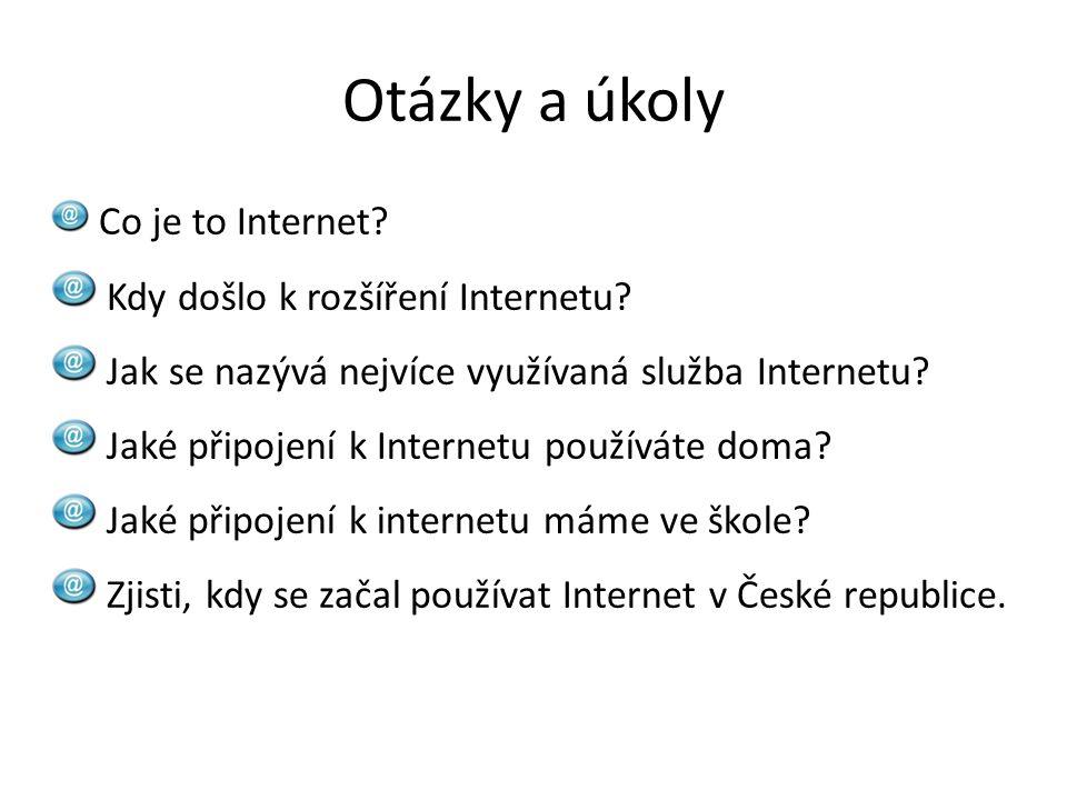 Otázky a úkoly Co je to Internet? Kdy došlo k rozšíření Internetu? Jak se nazývá nejvíce využívaná služba Internetu? Jaké připojení k Internetu použív