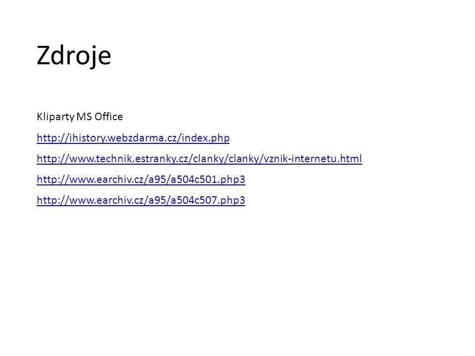 Kliparty MS Office http://ihistory.webzdarma.cz/index.php http://www.technik.estranky.cz/clanky/clanky/vznik-internetu.html http://www.earchiv.cz/a95/