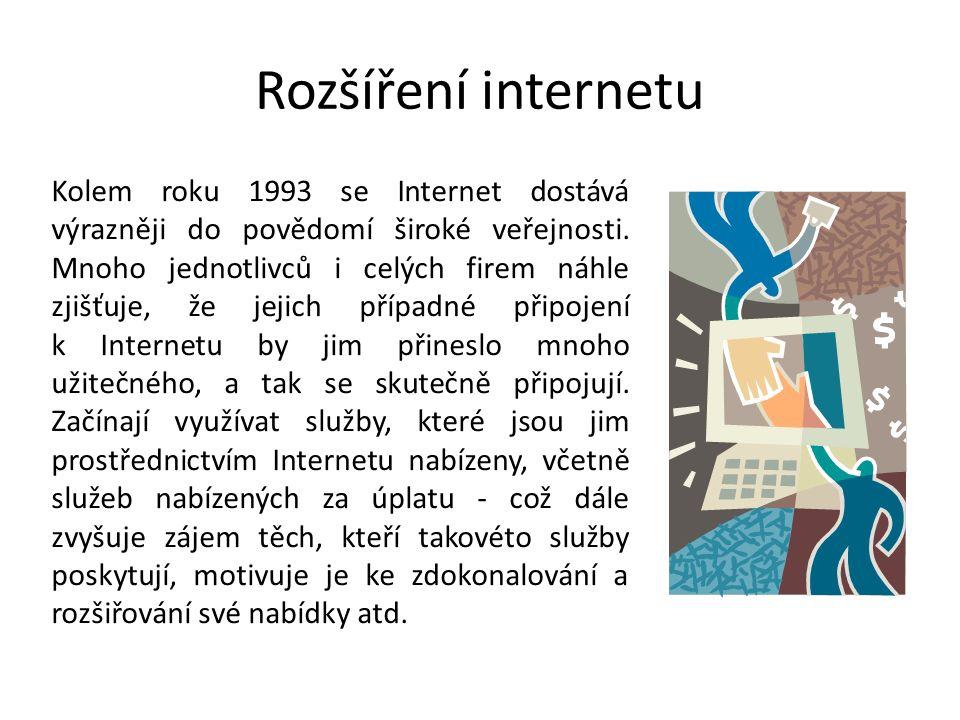 Rozšíření internetu Kolem roku 1993 se Internet dostává výrazněji do povědomí široké veřejnosti. Mnoho jednotlivců i celých firem náhle zjišťuje, že j