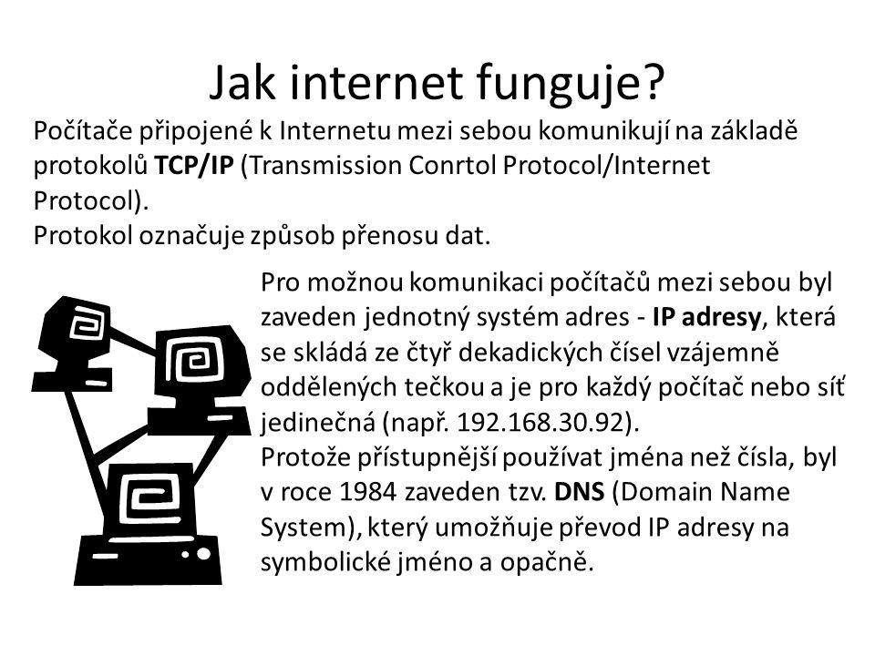 Jak internet funguje? Počítače připojené k Internetu mezi sebou komunikují na základě protokolů TCP/IP (Transmission Conrtol Protocol/Internet Protoco