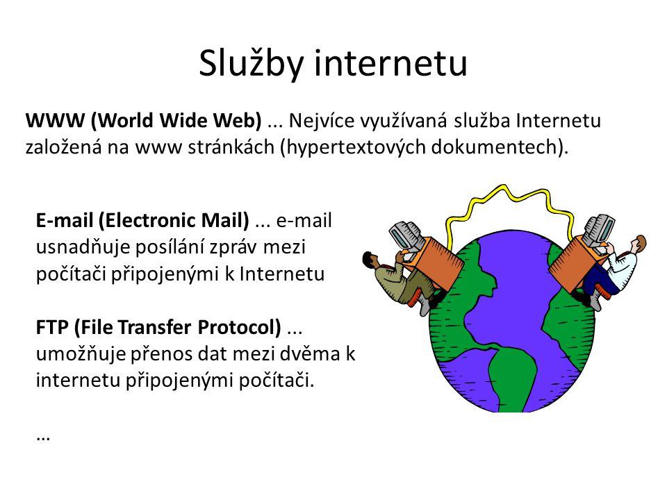Služby internetu WWW (World Wide Web)... Nejvíce využívaná služba Internetu založená na www stránkách (hypertextových dokumentech). E-mail (Electronic
