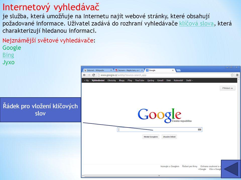 Internetový vyhledávač je služba, která umožňuje na Internetu najít webové stránky, které obsahují požadované informace.