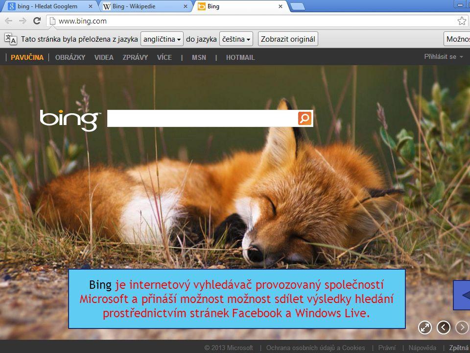 Bing je internetový vyhledávač provozovaný společností Microsoft a přináší možnost možnost sdílet výsledky hledání prostřednictvím stránek Facebook a Windows Live.