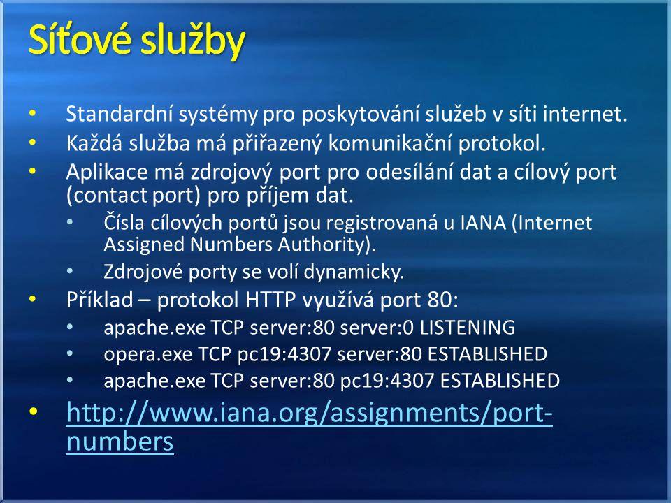 Standardní systémy pro poskytování služeb v síti internet.