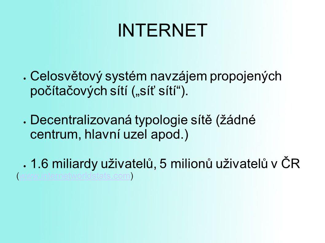 """ Celosvětový systém navzájem propojených počítačových sítí (""""síť sítí )."""