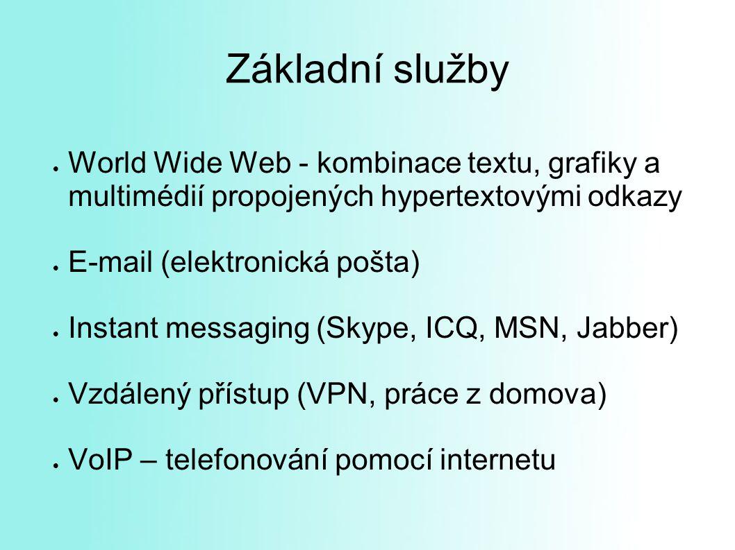 Základní služby  World Wide Web - kombinace textu, grafiky a multimédií propojených hypertextovými odkazy  E-mail (elektronická pošta)  Instant messaging (Skype, ICQ, MSN, Jabber)  Vzdálený přístup (VPN, práce z domova)  VoIP – telefonování pomocí internetu