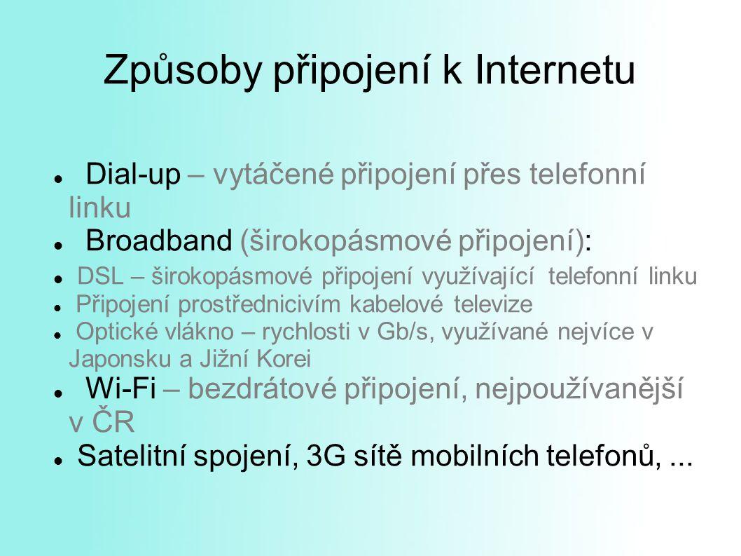 Způsoby připojení k Internetu Dial-up – vytáčené připojení přes telefonní linku Broadband (širokopásmové připojení): DSL – širokopásmové připojení využívající telefonní linku Připojení prostřednicivím kabelové televize Optické vlákno – rychlosti v Gb/s, využívané nejvíce v Japonsku a Jižní Korei Wi-Fi – bezdrátové připojení, nejpoužívanější v ČR Satelitní spojení, 3G sítě mobilních telefonů,...