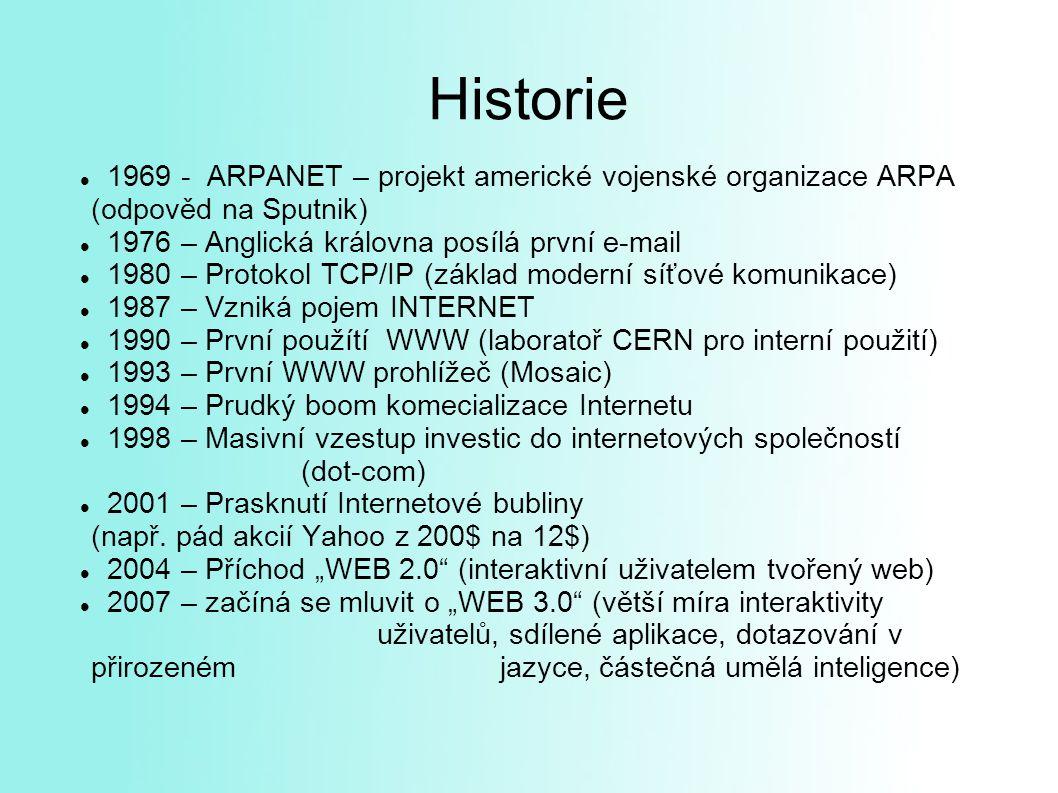 Historie 1969 - ARPANET – projekt americké vojenské organizace ARPA (odpověd na Sputnik) 1976 – Anglická královna posílá první e-mail 1980 – Protokol TCP/IP (základ moderní síťové komunikace) 1987 – Vzniká pojem INTERNET 1990 – První použítí WWW (laboratoř CERN pro interní použití) 1993 – První WWW prohlížeč (Mosaic) 1994 – Prudký boom komecializace Internetu 1998 – Masivní vzestup investic do internetových společností (dot-com) 2001 – Prasknutí Internetové bubliny (např.