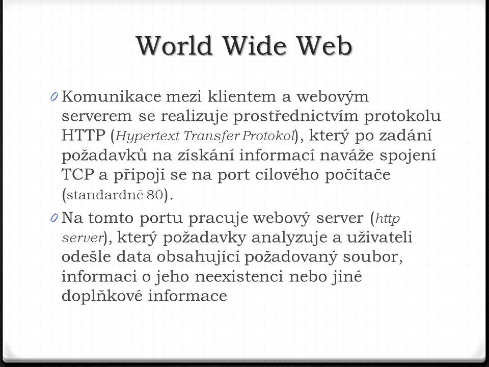 0 Komunikace mezi klientem a webovým serverem se realizuje prostřednictvím protokolu HTTP ( Hypertext Transfer Protokol ), který po zadání požadavků na získání informací naváže spojení TCP a připojí se na port cílového počítače ( standardně 80 ).