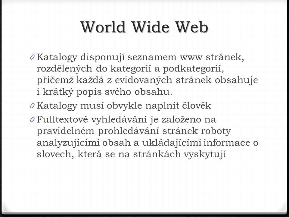 0 Katalogy disponují seznamem www stránek, rozdělených do kategorií a podkategorií, přičemž každá z evidovaných stránek obsahuje i krátký popis svého obsahu.
