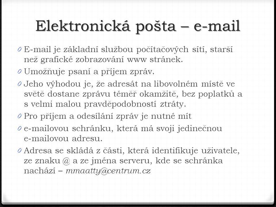 0 E-mail je základní službou počítačových sítí, starší než grafické zobrazování www stránek.