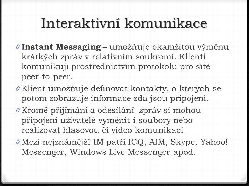 0 Instant Messaging – umožňuje okamžitou výměnu krátkých zpráv v relativním soukromí.