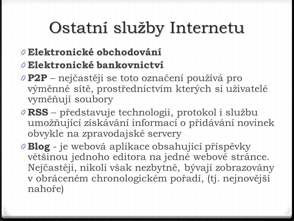 0 Elektronické obchodování 0 Elektronické bankovnictví 0 P2P – nejčastěji se toto označení používá pro výměnné sítě, prostřednictvím kterých si uživatelé vyměňují soubory 0 RSS – představuje technologii, protokol i službu umožňující získávání informací o přidávání novinek obvykle na zpravodajské servery 0 Blog - je webová aplikace obsahující příspěvky většinou jednoho editora na jedné webové stránce.