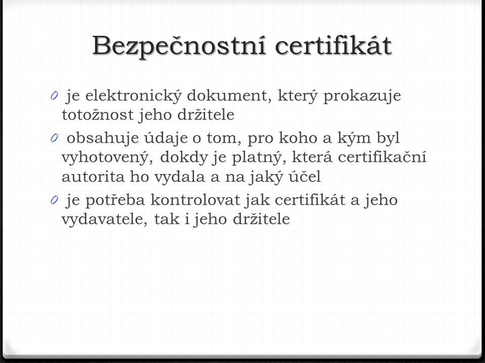 0 je elektronický dokument, který prokazuje totožnost jeho držitele 0 obsahuje údaje o tom, pro koho a kým byl vyhotovený, dokdy je platný, která certifikační autorita ho vydala a na jaký účel 0 je potřeba kontrolovat jak certifikát a jeho vydavatele, tak i jeho držitele Bezpečnostní certifikát
