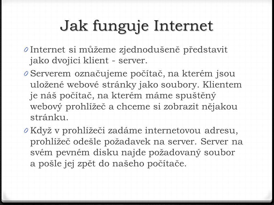 0 Internet si můžeme zjednodušeně představit jako dvojici klient - server.