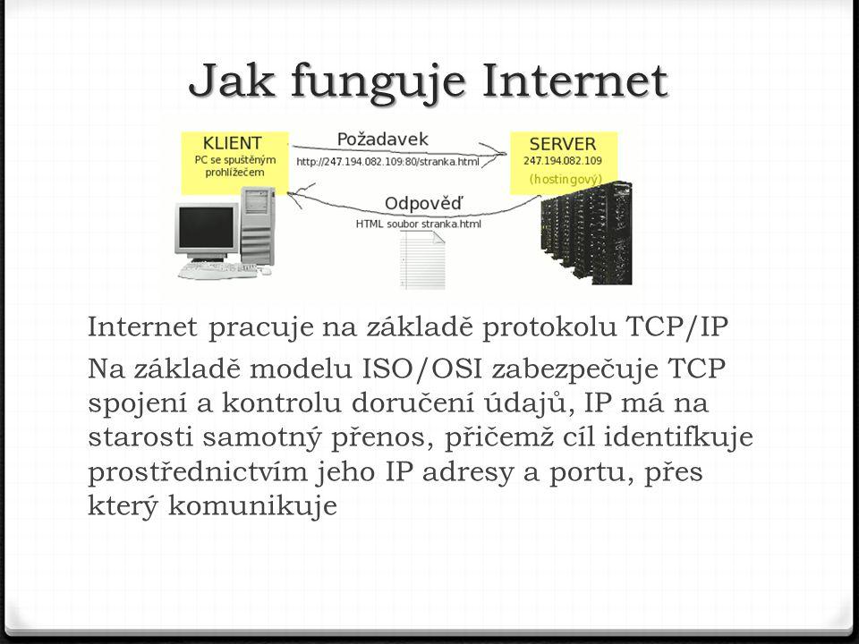 Internet pracuje na základě protokolu TCP/IP Na základě modelu ISO/OSI zabezpečuje TCP spojení a kontrolu doručení údajů, IP má na starosti samotný přenos, přičemž cíl identifkuje prostřednictvím jeho IP adresy a portu, přes který komunikuje Jak funguje Internet