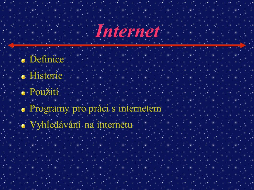 Internet Definice Historie Použití Programy pro práci s internetem Vyhledávání na internetu
