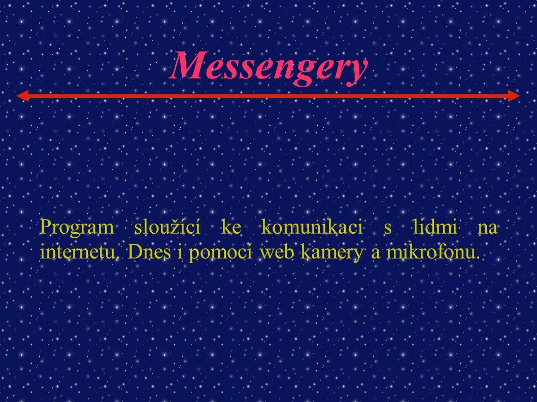 Messengery Program sloužící ke komunikaci s lidmi na internetu. Dnes i pomocí web kamery a mikrofonu.