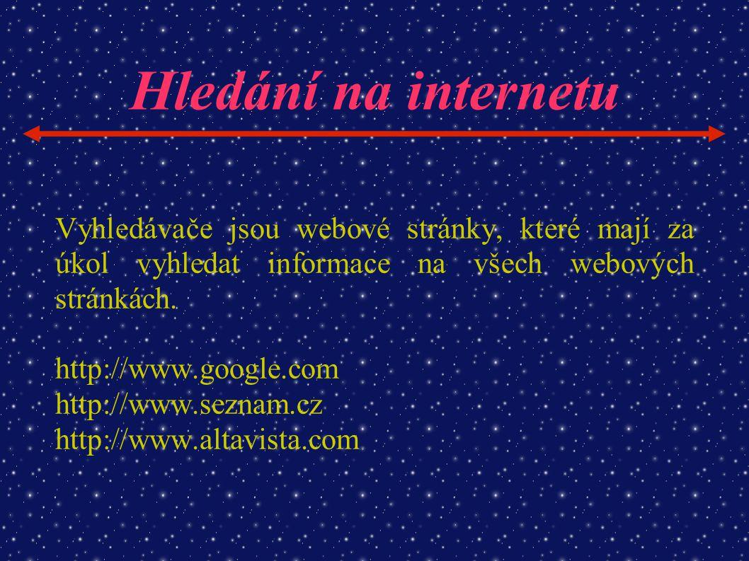 Hledání na internetu Vyhledávače jsou webové stránky, které mají za úkol vyhledat informace na všech webových stránkách. http://www.google.com http://