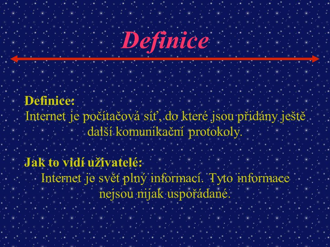 Definice Definice: Internet je počítačová síť, do které jsou přidány ještě další komunikační protokoly. Jak to vidí uživatelé: Internet je svět plný i