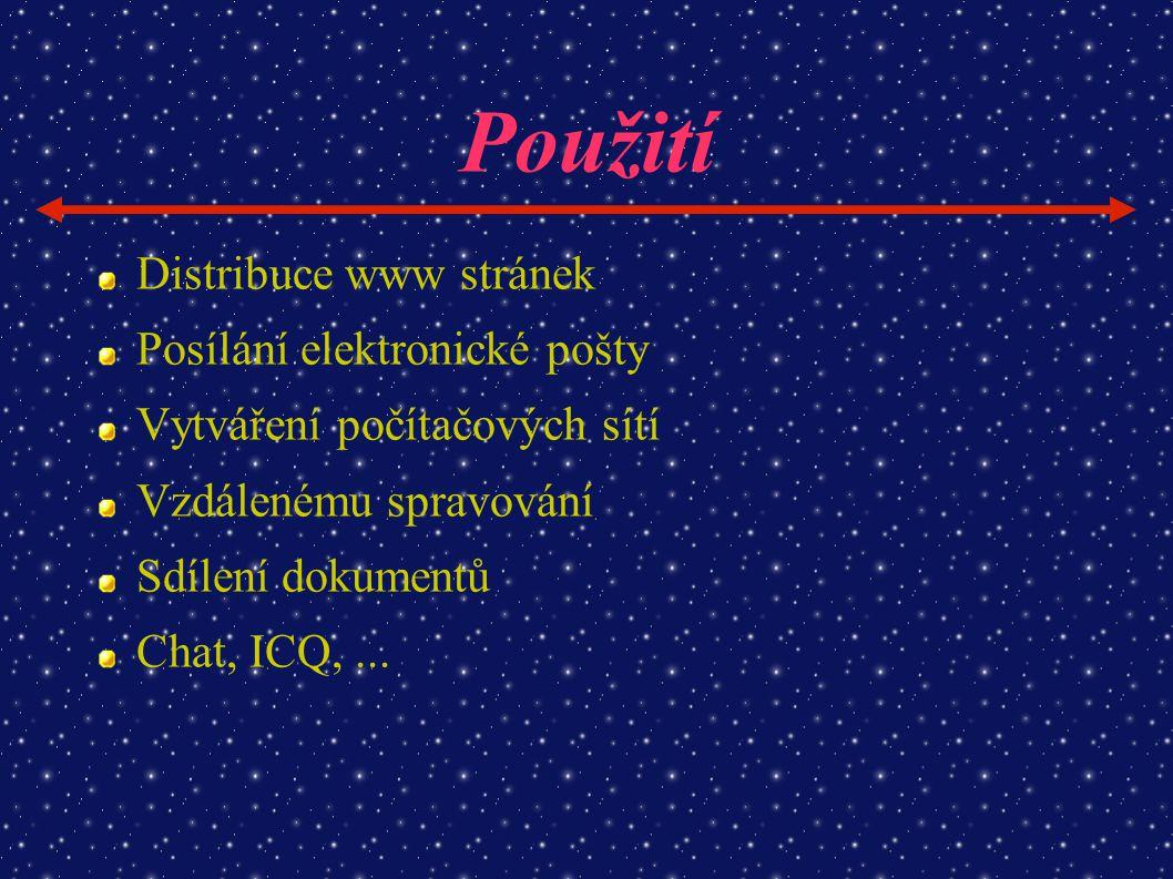 Použití Distribuce www stránek Posílání elektronické pošty Vytváření počítačových sítí Vzdálenému spravování Sdílení dokumentů Chat, ICQ,...