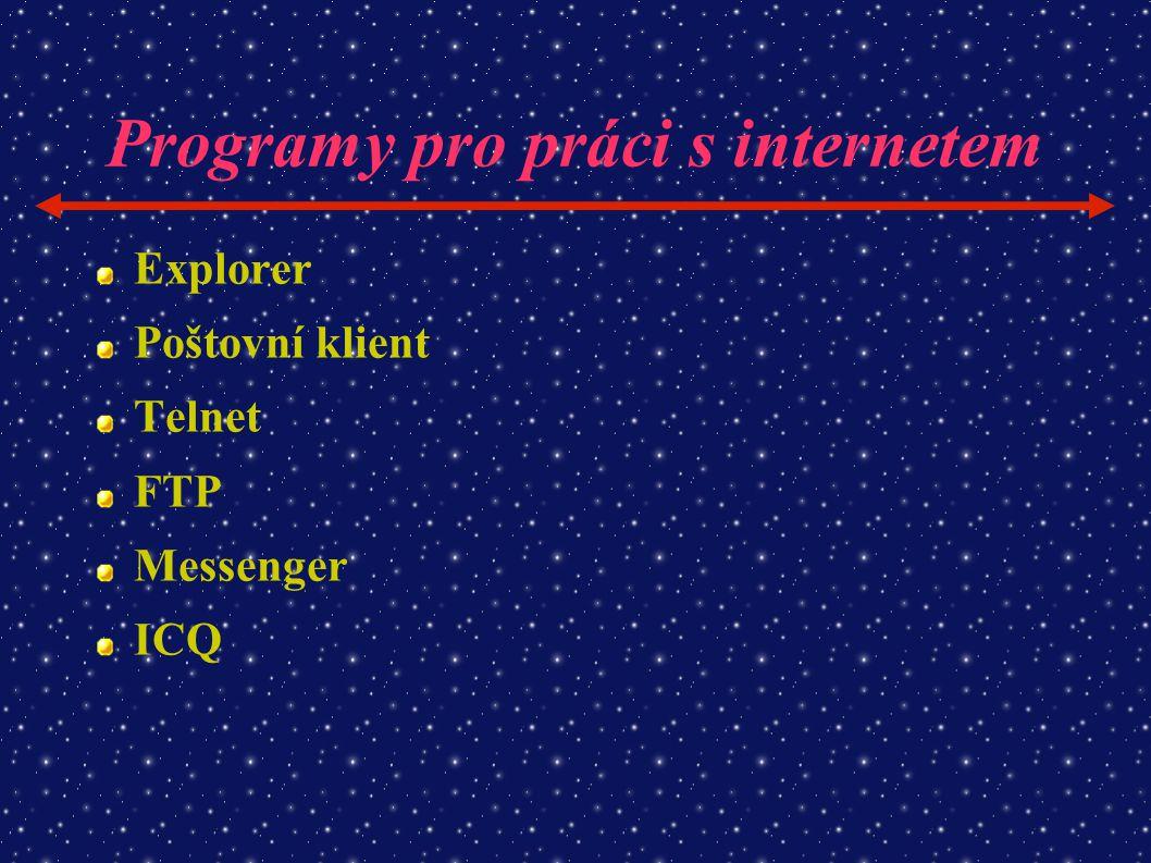 Programy pro práci s internetem Explorer Poštovní klient Telnet FTP Messenger ICQ