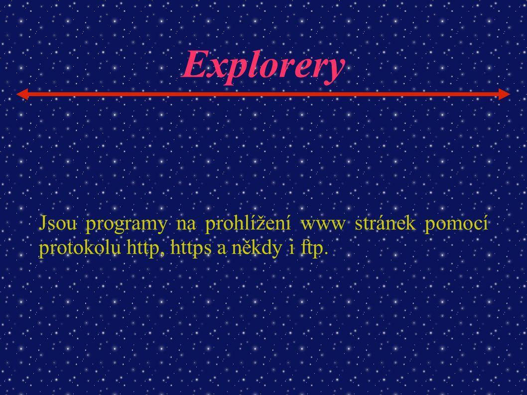 Explorery Jsou programy na prohlížení www stránek pomocí protokolu http, https a někdy i ftp.