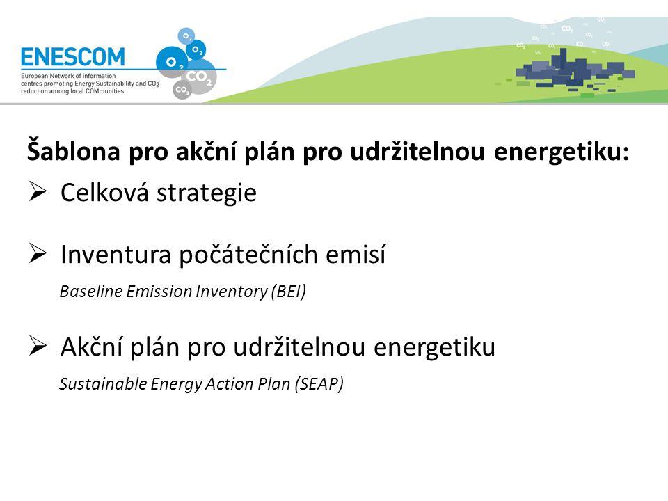Šablona pro akční plán pro udržitelnou energetiku:  Celková strategie  Inventura počátečních emisí Baseline Emission Inventory (BEI)  Akční plán pro udržitelnou energetiku Sustainable Energy Action Plan (SEAP)