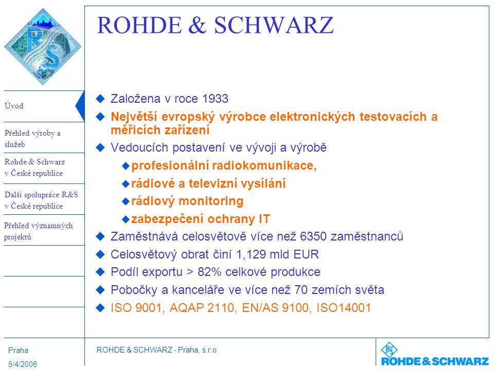 Úvod Rohde & Schwarz v České republice Další spolupráce R&S v České republice Přehled výroby a služeb ROHDE & SCHWARZ - Praha, s.r.o Přehled významných projektů Praha 5/4/2006 Další spolupráce R&S v České republice KV komunikace  1997/8 spolupráce na vývoji radiostanice R150T/S jako dual label produktu ROHDE&SCHWARZ - DICOM  stanice špičkové úrovně vhodná pro KV datové provozy  dodáno 27 ks