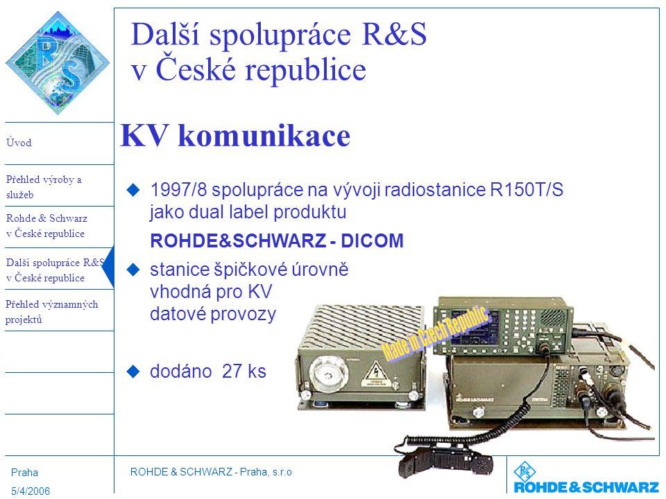 Úvod Rohde & Schwarz v České republice Další spolupráce R&S v České republice Přehled výroby a služeb ROHDE & SCHWARZ - Praha, s.r.o Přehled významnýc