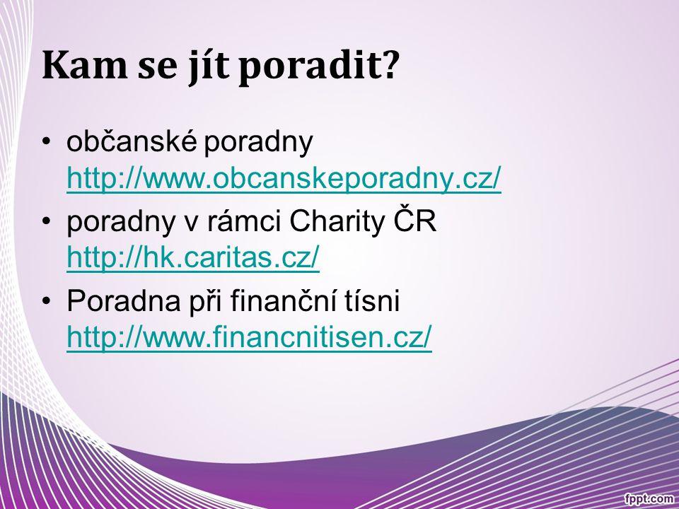 Kam se jít poradit? občanské poradny http://www.obcanskeporadny.cz/ http://www.obcanskeporadny.cz/ poradny v rámci Charity ČR http://hk.caritas.cz/ ht