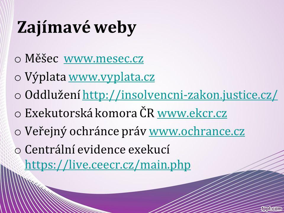 Zajímavé weby o Měšec www.mesec.czwww.mesec.cz o Výplata www.vyplata.czwww.vyplata.cz o Oddlužení http://insolvencni-zakon.justice.cz/http://insolvenc