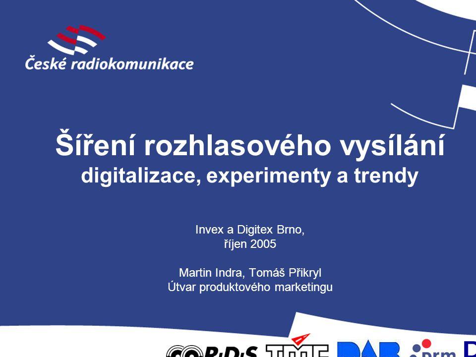 Šíření rozhlasového vysílání digitalizace, experimenty a trendy Invex a Digitex Brno, říjen 2005 Martin Indra, Tomáš Přikryl Útvar produktového market