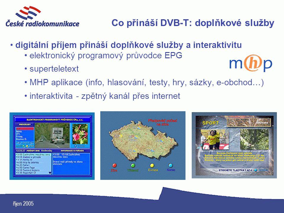 říjen 2005 Co přináší DVB-T: doplňkové služby digitální příjem přináší doplňkové služby a interaktivitu elektronický programový průvodce EPG supertele