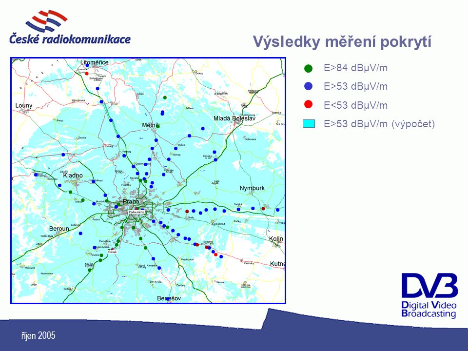 říjen 2005 Výsledky měření pokrytí E>84 dBμV/m E>53 dBμV/m E<53 dBμV/m E>53 dBμV/m (výpočet)
