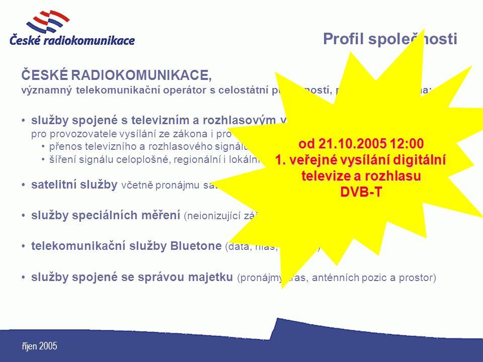 říjen 2005 ČESKÉ RADIOKOMUNIKACE, významný telekomunikační operátor s celostátní působností, poskytují zejména: služby spojené s televizním a rozhlaso