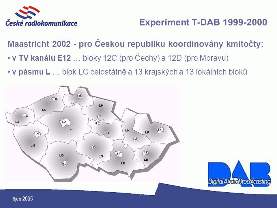 říjen 2005 Experiment T-DAB 1999-2000 Maastricht 2002 - pro Českou republiku koordinovány kmitočty: v TV kanálu E12 … bloky 12C (pro Čechy) a 12D (pro