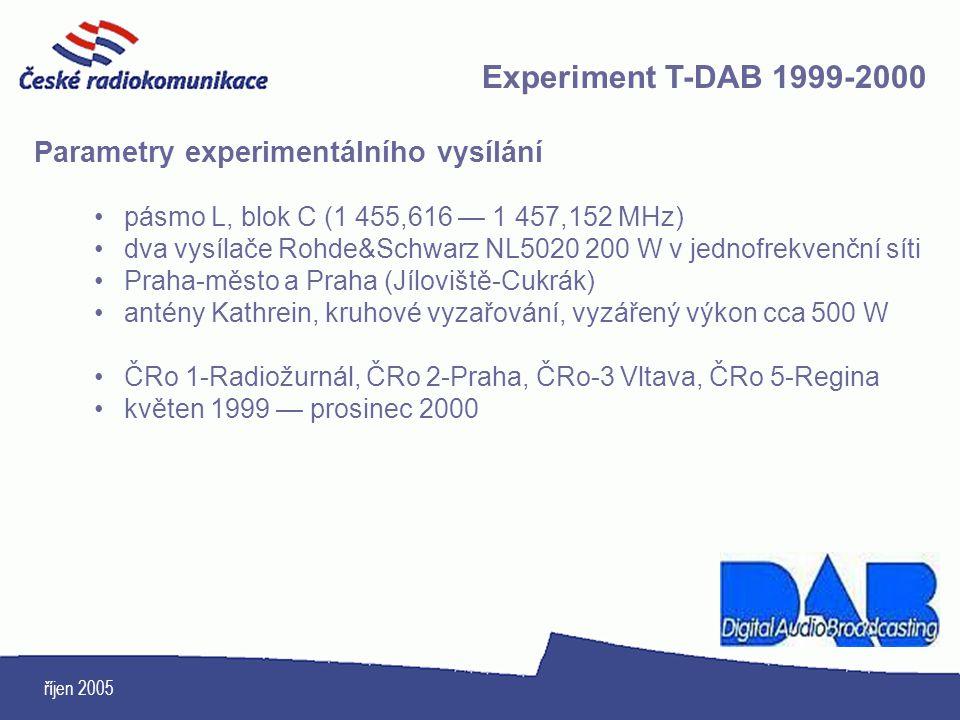 říjen 2005 Parametry experimentálního vysílání pásmo L, blok C (1 455,616 — 1 457,152 MHz) dva vysílače Rohde&Schwarz NL5020 200 W v jednofrekvenční s
